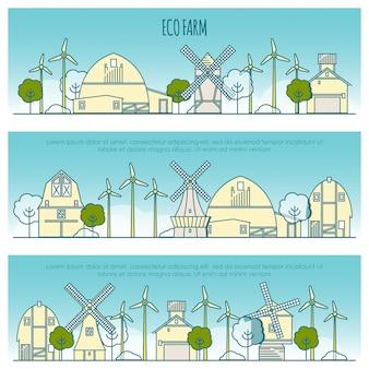 Banners de fazenda de ecologia. modelo com ícones de linha fina de tecnologia eco farm, sustentabilidade do ambiente local