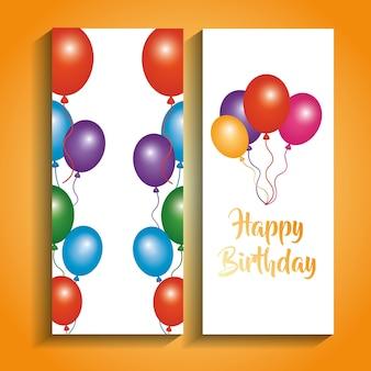 Banners de feliz aniversario celebração de saudação