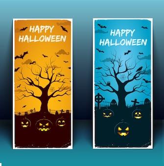 Banners de feliz dia das bruxas com árvore de pássaros do cemitério moldura branca lanternas brilhantes de abóbora ilustração em vetor 3d isolado