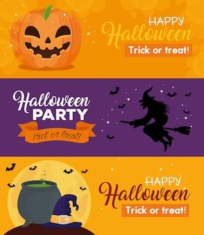 Banners de feliz dia das bruxas com decoração