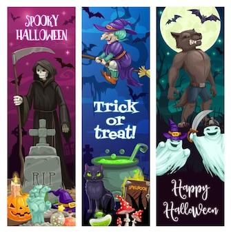 Banners de feliz dia das bruxas com monstros assustadores