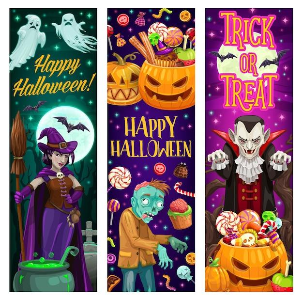 Banners de feliz dia das bruxas com monstros e doces