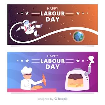 Banners de feliz dia do trabalho