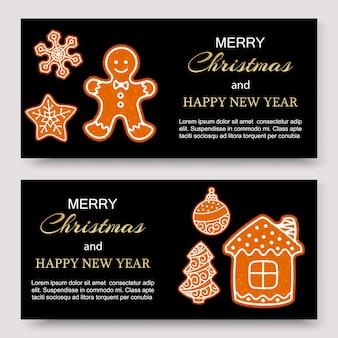 Banners de feliz natal de gengibre e modelo de design de cartão.