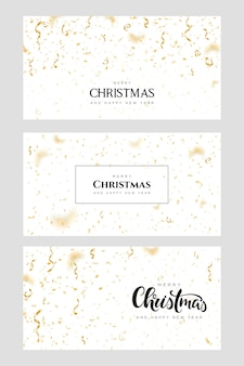 Banners de feliz natal e feliz ano novo com confetes dourados