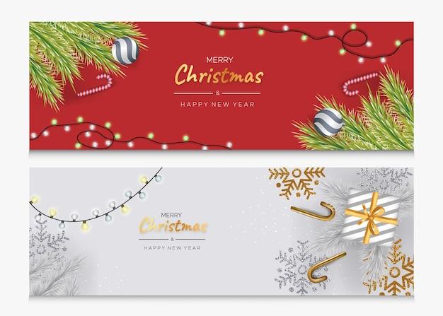 Banners de feliz natal e feliz ano novo