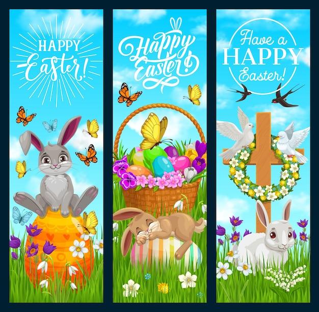 Banners de feliz páscoa com coelhos de desenho animado