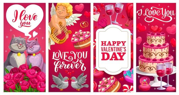 Banners de feriado do dia dos namorados com presentes, corações de amor e buquês de flores
