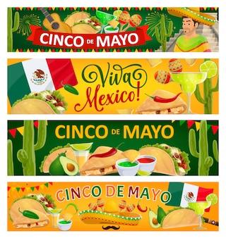Banners de férias cinco de mayo e viva mexico