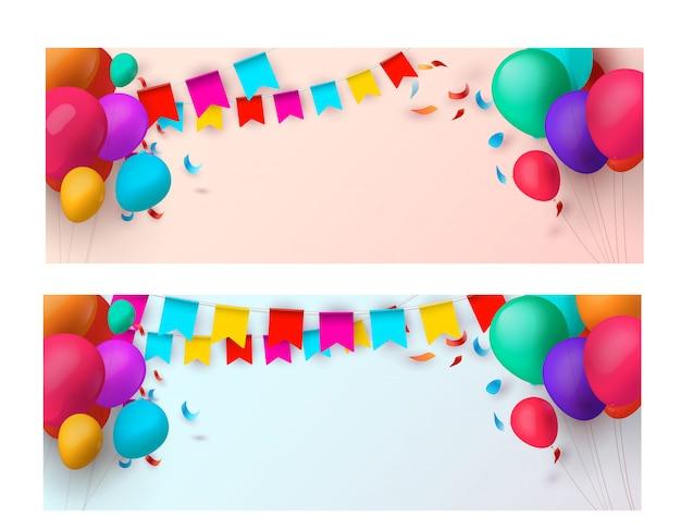 Banners de férias com balões coloridos.