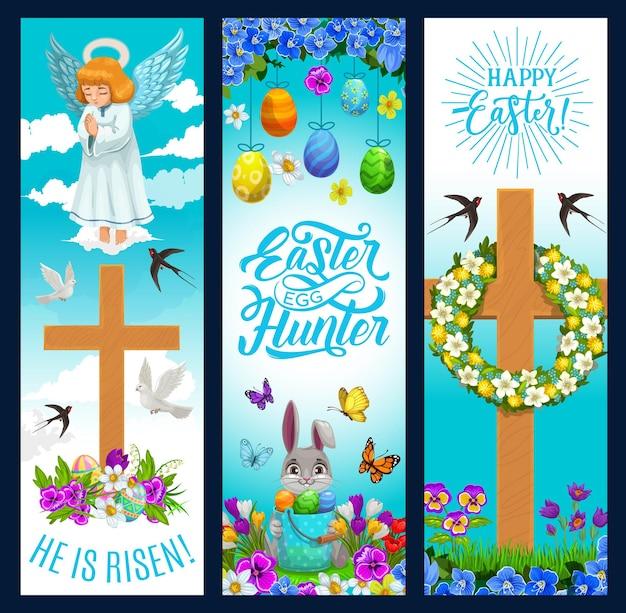 Banners de férias de páscoa com ovos e coelho