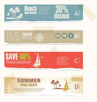 Banners de férias e viagens de verão