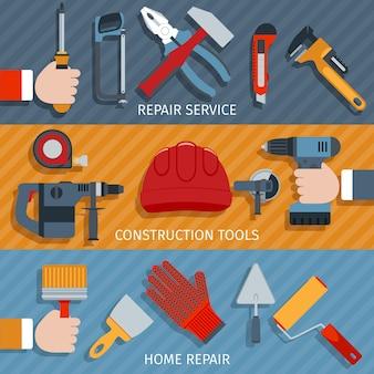 Banners de ferramentas de reparação