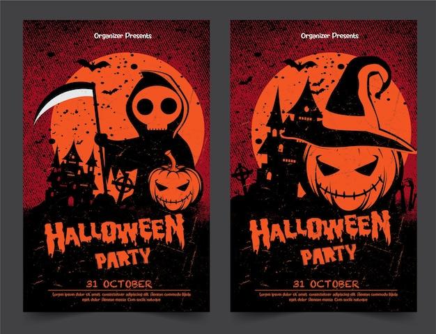 Banners de festa à noite de halloween com abóboras