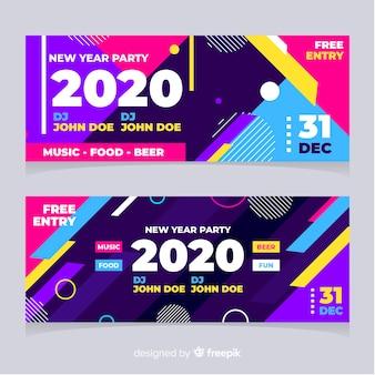 Banners de festa abstrata ano novo 2020 com efeito memphis