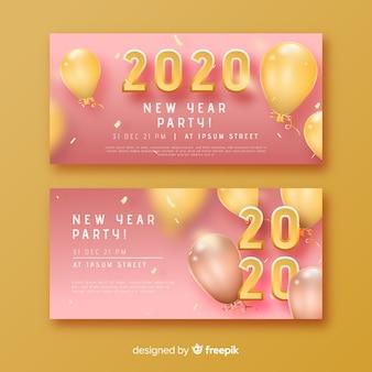 Banners de festa abstrata ano novo 2020 em tons de rosa e balões