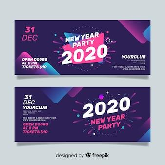 Banners de festa abstrata ano novo 2020 Vetor Premium