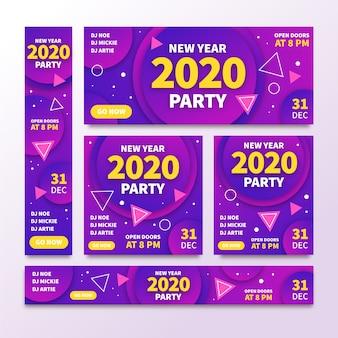 Banners de festa abstrata ano novo 2020