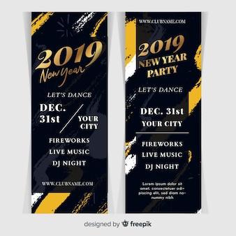 Banners de festa abstrato ano novo 2019