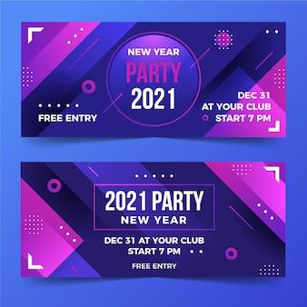 Banners de festa abstratos de ano novo 2021