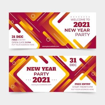 Banners de festa abstratos de ano novo de 2021