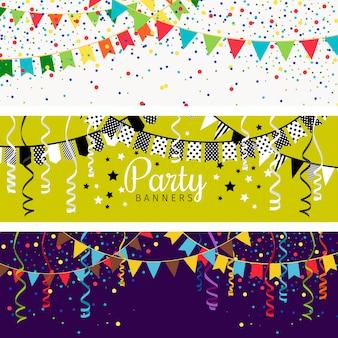 Banners de festa com guirlanda de bandeiras de cor e confetes