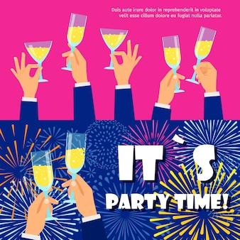 Banners de festa conjunto com fogos de artifício e champanhe