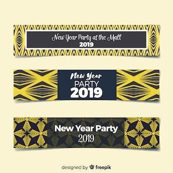 Banners de festa de ano novo 2019