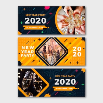 Banners de festa de ano novo 2020 com foto
