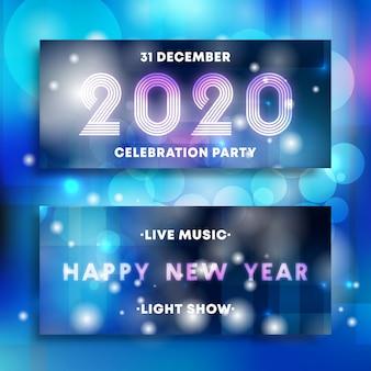 Banners de festa de ano novo 2020 conjunto de design de néon