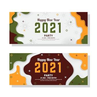 Banners de festa de ano novo 2021 em design plano