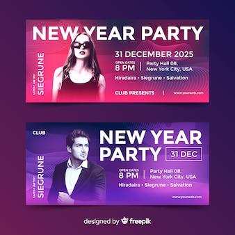 Banners de festa de ano novo com foto