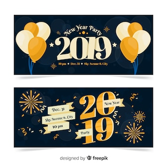 Banners de festa de ano novo de 2019