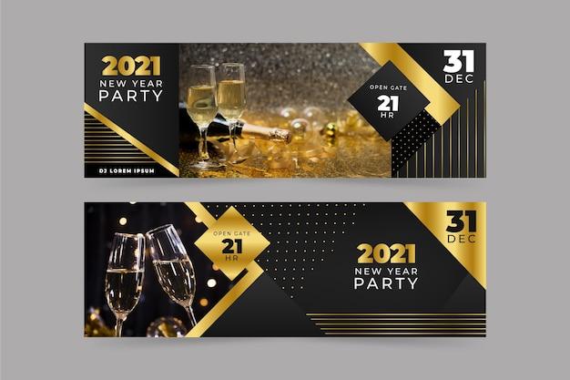 Banners de festa de ano novo de 2021 com foto
