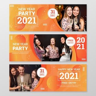 Banners de festa de ano novo de 2021