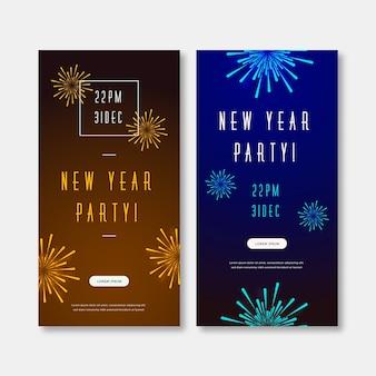 Banners de festa de ano novo de design plano 2020
