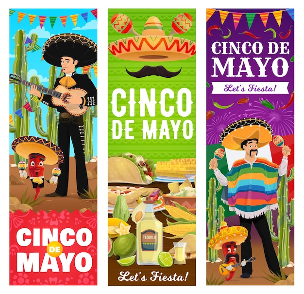 Banners de festa de fiesta de feriado mexicano do cinco de mayo