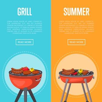 Banners de festa de verão grill com carnes no churrasco