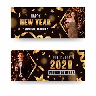 Banners de festa do ano novo 2020 com conjunto de imagens