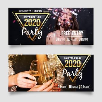 Banners de festa do ano novo 2020 com foto