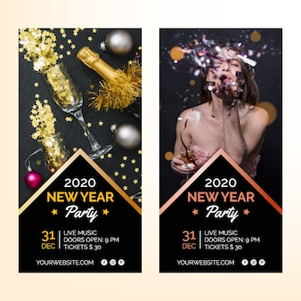 Banners de festa do ano novo 2020 com imagem