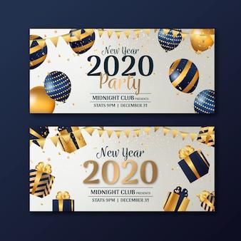 Banners de festa do ano novo 2020 em design plano