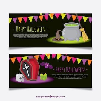 Banners de festa do dia das bruxas