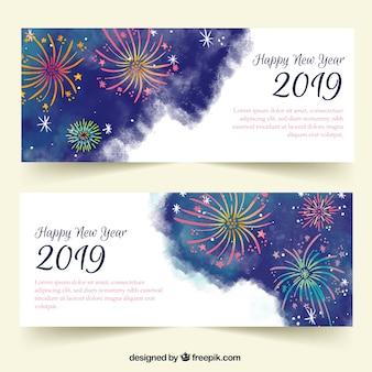 Banners de festa em aquarela ano novo 2019