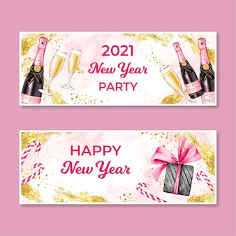 Banners de festa em aquarela de ano novo 2021