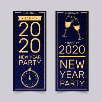 Banners de festa mão desenhada ano novo 2020
