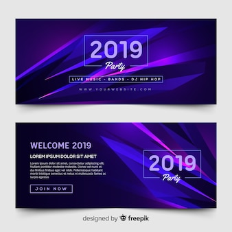 Banners de festa moderna de ano novo com design plano