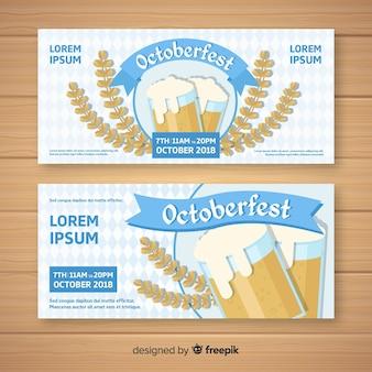 Banners de festa oktoberfest em design plano
