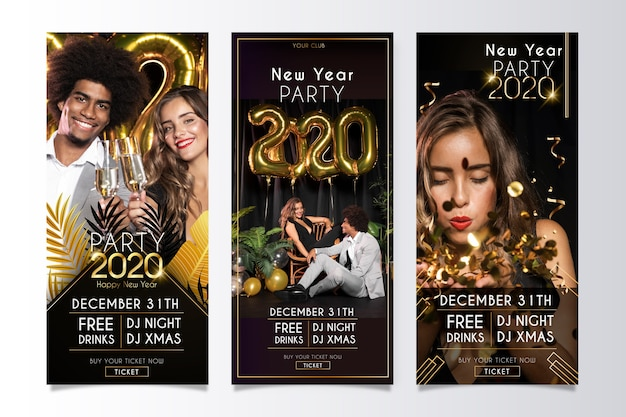 Banners de festa para o ano novo