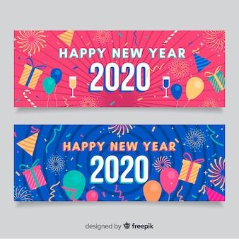 Banners de festa plana ano novo 2020 em azul e rosa
